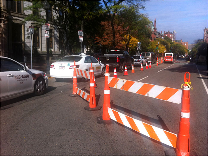 Construction at Dartmouth St. and Commonwealth Ave. caused traffic this morning.